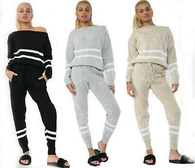 Women's Cable Knitted 2 Piece Suit Ladies Lounge Wear Stripe Tracksuit Set UK • 16.99£