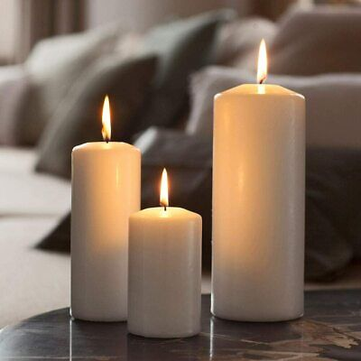 £5.59 • Buy Church Pillar Ivory Candles 50-150 Burning Time Home Decor Xmas Unscented Wax