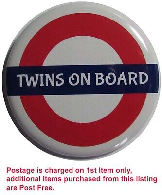 BABY TWINS ON BOARD Badge, LARGE 50mm Or 55mm Pin Or Clip #2 • 2.30£