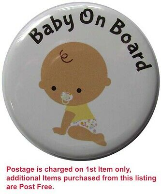 BABY ON BOARD Badge, LARGE Up To 55mm Pin Or Clip #13 • 2.30£