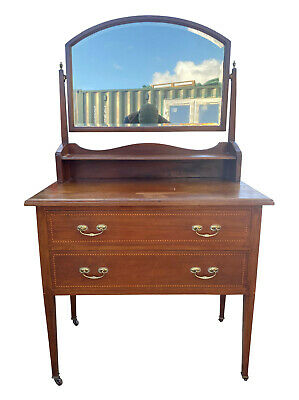 £295 • Buy Charming Old Petite Antique Edwardian Inlaid Mahogany Dressing Table W/ Mirror