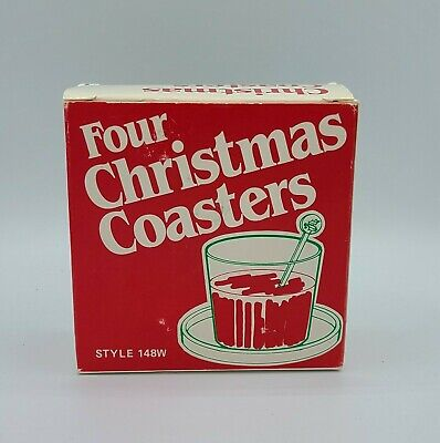$ CDN14.95 • Buy Box Of 4 Vintage Red & Green Plastic Christmas Coasters By Gessner Made In USA