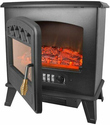 Cast Iron Log Burning Flame Effect Fire Stove Black Electric Heater 900W 1850W • 69.99£