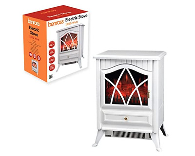 Cast Iron Log Burning Flame Effect Fire Stove White Electric Heater 900W 1800W • 79.95£