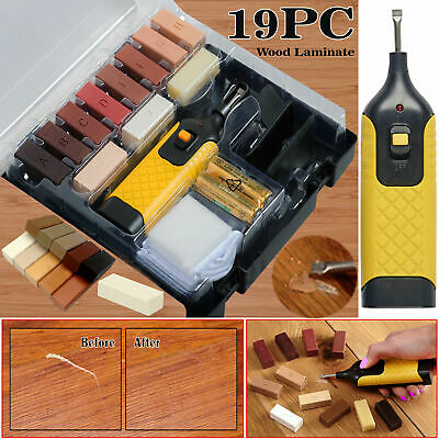 19pc Laminate Floor / Worktop Repair Kit Wax System Chips Scratches Sturdy Case • 12.15£
