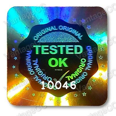 £7.99 • Buy LARGE TESTED OK Security Hologram Stickers Labels, 20mm Square, QC Checked Tick