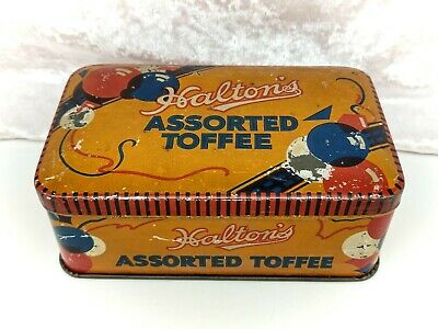 Vintage Tin-Halton's Assorted Toffee-Sweet/Confectionery/Advertising • 17.99£