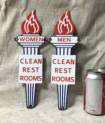 $ CDN16.71 • Buy VINTAGE PORCELAIN MENS & WOMENS CLEAN RESTROOM GAS SIGN Standard Oil Flame