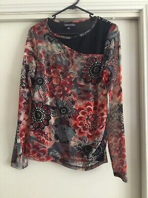 AU14.95 • Buy Ladies Floral Long Sleeve Netting Top Size 14 From The Clothing Company