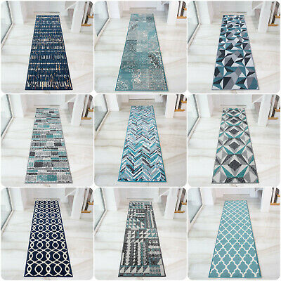 Blue Navy Hall Runner Rugs Denim Geometric Carpet Runner Long Teal Hall Runners • 15.95£