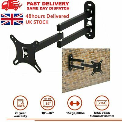 TV PC Monitor Extending Tilt & Turn Swivel Wall Mount Bracket 10 - 32 Inch LCD • 9.28£