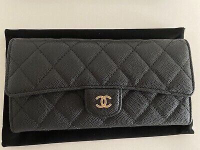 AU465 • Buy Bnib Chanel Classic Long Flap Wallet Black Caviar