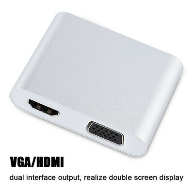 AU33.90 • Buy USB To VGA HDMI Adapter Digital HDTV Dock 1080P HD Silver For Android