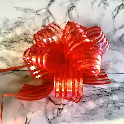 Red Gold Large Organza Pull Bows X20 High Quality Xmas Presents Weddings Party • 7.99£