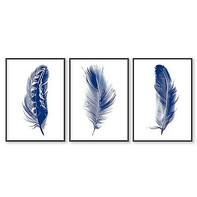 £14.99 • Buy Wall Print Set Of 3, Feather Print, Feather Wall Art, Print Wall Art, Navy