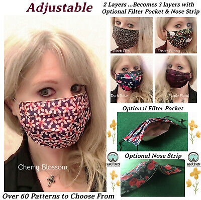 £5.99 • Buy Face Mask Nose Wire Filter Pocket Pleated Cotton Adjustable Ladies Mens UK