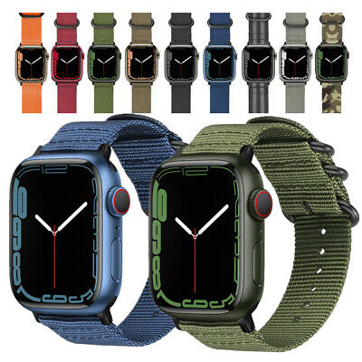 AU9.99 • Buy Woven Nylon Canvas Watch Band For Apple Watch SE Strap Series 6 5 4 3 44/42mm