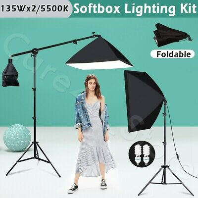 Photography Studio Boom Arm Light Stand Grip Video Softbox Lighting Soft Box Kit • 58.89£