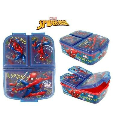 Marvel Spiderman Kids Character 3 Compartment Sandwich Lunch Box Licenced Item • 12.98£