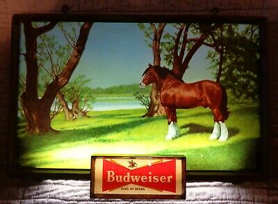 $ CDN430.33 • Buy Rare Vintage Budweiser Lighted Sign Clydesdale Stallion 1950's Free Shipping WoW