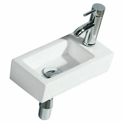 Small Compact Cloakroom Wash Basin Sink Mini Ceramic Wall Mounted 370 X 180 Mm • 36.89£