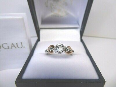 Clogau Gold Silver & 9ct Rose Gold Tree Of Life White Topaz Ring, Size L • 62£