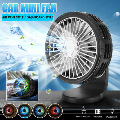 AU16.49 • Buy USB Car Fan Air Vent Clip Dashboard 3 Speed Cooling Cooler LED Light
