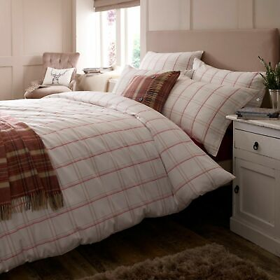 Jigsaw Coral Padstow Check Duvet Cover 100% Cotton King Size • 35£
