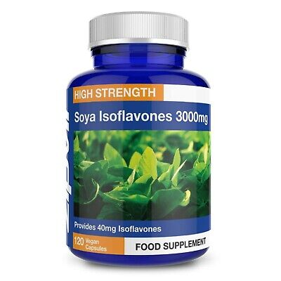 SOYA Isoflavones 3000mg, 6000mg Daily Dose. 120 Vegan Capsules, 2 Months Supply • 25.99£