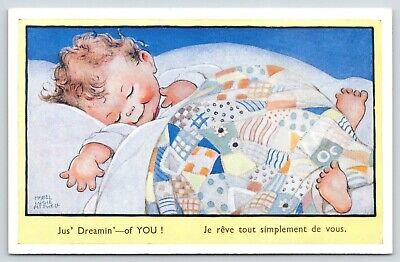 Mabel Lucie Atwell~Just Dreaming Of YOU~Tousled Headed Boy Under Patchwork Quilt • 8.80£