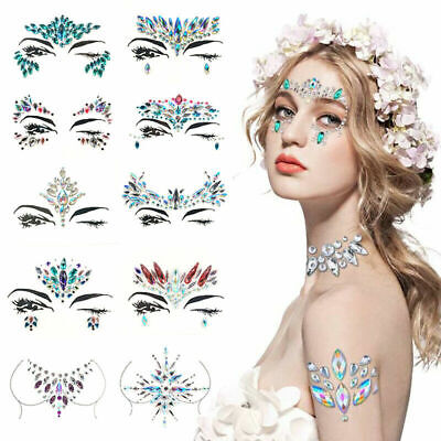 Glitter Face Gems Adhesive Tattoo Body Jewels Make Up Wedding Festival Party Hot • 1.69£