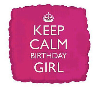 Keep Calm Birthday Girl Pink Square Balloon Girls Party Decoration  Gifts • 2.99£