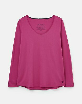 Joules Womens 212612 Long Sleeve Plain Jersey Top With Lace Trim - Cerise • 11.96£