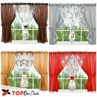 £18.99 • Buy Amazing Voile Net Curtains With Flowers Printed  Living Dining Room  Kitchen