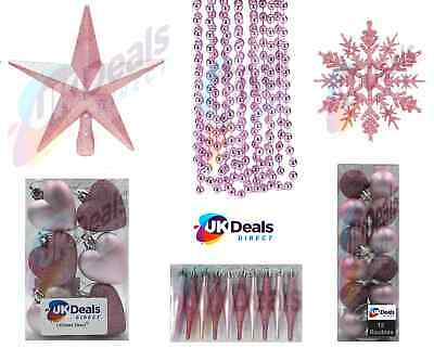 Pink Blush Collection Christmas Decorations Baubles Hearts Droplets Tree Topper • 5.99£