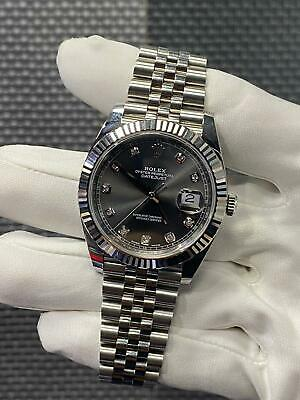 $ CDN15091.66 • Buy Rolex Datejust 41 Oyster Steel And White Gold Diamond Grey Dial Mint Condition