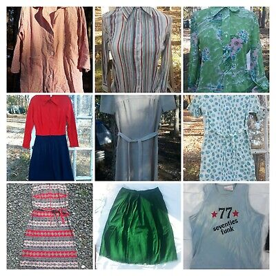 AU113.50 • Buy Vintage Clothing Lot Dresses Skirts Blouses 11 Pcs TLC Damaged As Is 60s 70s S-M