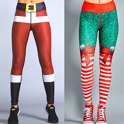 Christmas Womens Gym Leggings Stretch Trousers Fitness Sports Running Yoga Pants • 5.69£