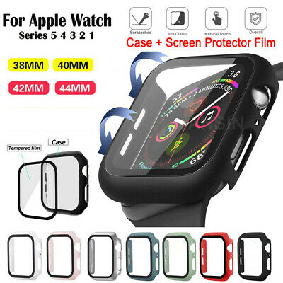 $ CDN5.18 • Buy Tempered Glass Screen Protector + Case Cover For IWatch Apple Watch 6 5 4 3 2 1