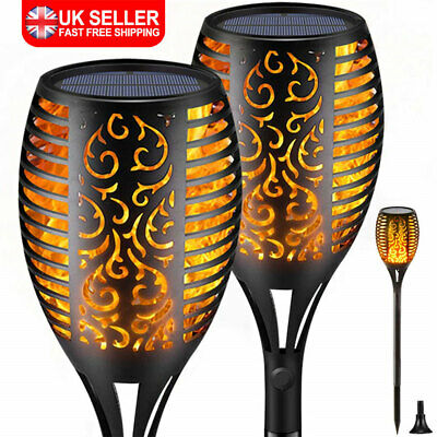 96LED Waterproof Solar Torch Light Dancing Flickering Flame Garden Lamp UK • 17.79£