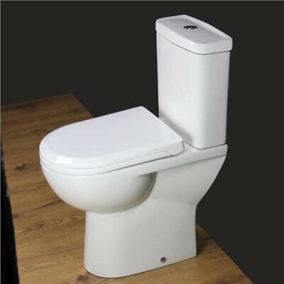 Toilet WC Close Coupled Bathroom Compact Soft Close Seat Comfort Height T127H • 129.99£