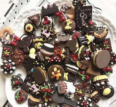 Mix Fake Food Sweets, Lolly Cakes Cookies Muffins Cabochon CB12 , Chocolate • 2.99£