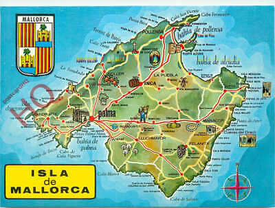 Picture Postcard; Mallorca, Map • 3.49£