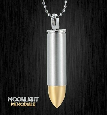 £9.38 • Buy New Bullet Silver Gold Urn Cremation Ashes Holder Silver Memorial Necklace