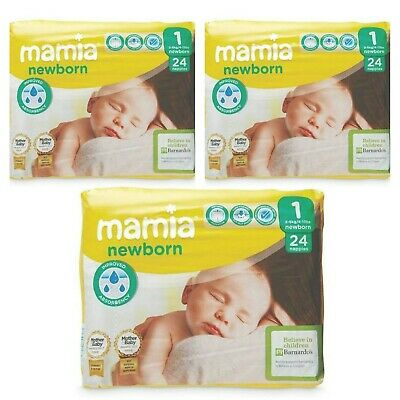 Pack Of 3 - Mamia Baby Newborn Nappies Size 1, 2-5kg, 3 X 24 (72 Nappies)- New • 9.89£