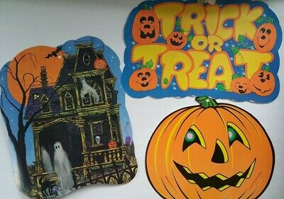 $ CDN18.54 • Buy Vintage Wall Hanging Paper Halloween Decorations Lot Of 3 - Signs