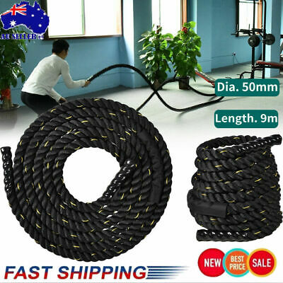 AU86.39 • Buy Dia 50mm X9M Heavy Home Gym Battle Rope Power Strength Training Exercise Fitness