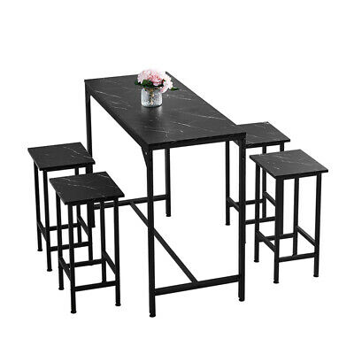 Bar Table And 4 Stools Set Dining Table Chairs Set Black Marble Effect Kitchen  • 122.99£