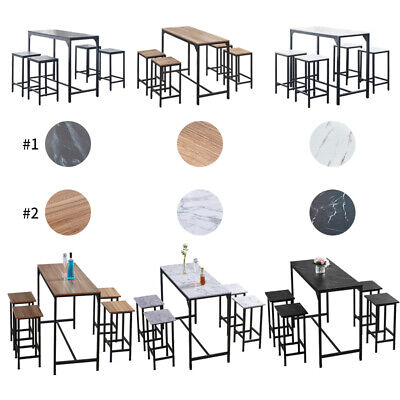 Bar Table And 4 Stools Set Dining Table And Chairs Set Kitchen Bar 3 Colors BN  • 122.99£