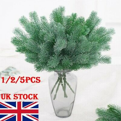 16 Fork Pine Needle Branch Artificial Pine Plants Christmas Tree Decor Home UK • 11.39£